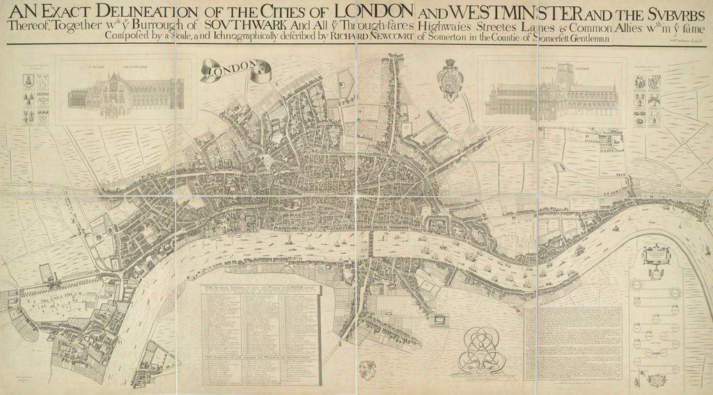 Detail of A map of the Cities of London and Westminster by Richard Newcourt