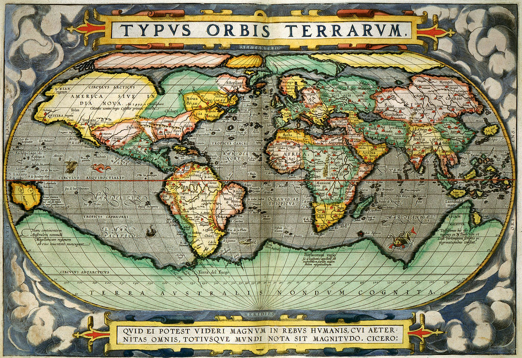 Detail of World Map by Abraham Ortelius