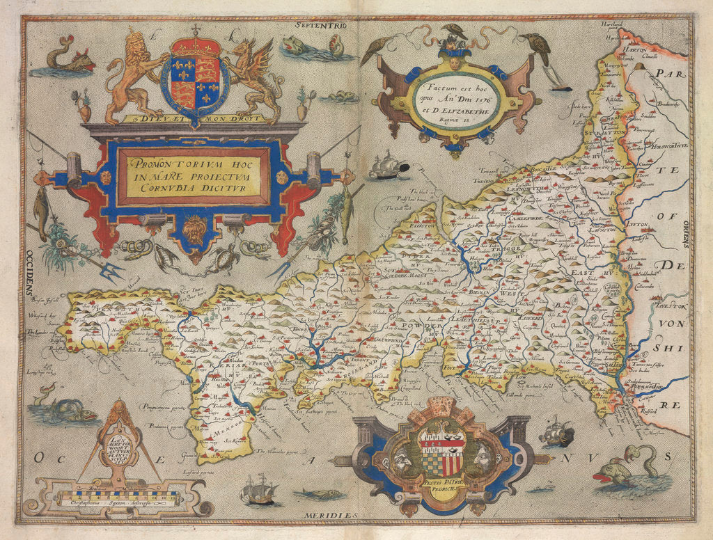 Detail of Map of Cornwall by Christopher Saxton