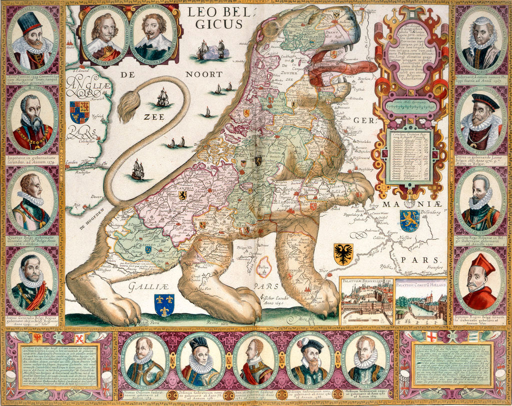 Detail of Leo Belgicus Map of Holland by Nicolaes Visscher