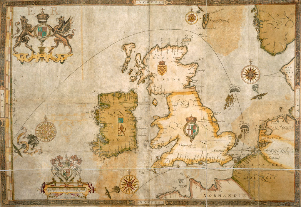 Detail of Map of the Spanish Armada and the British Isles by Robert Adams