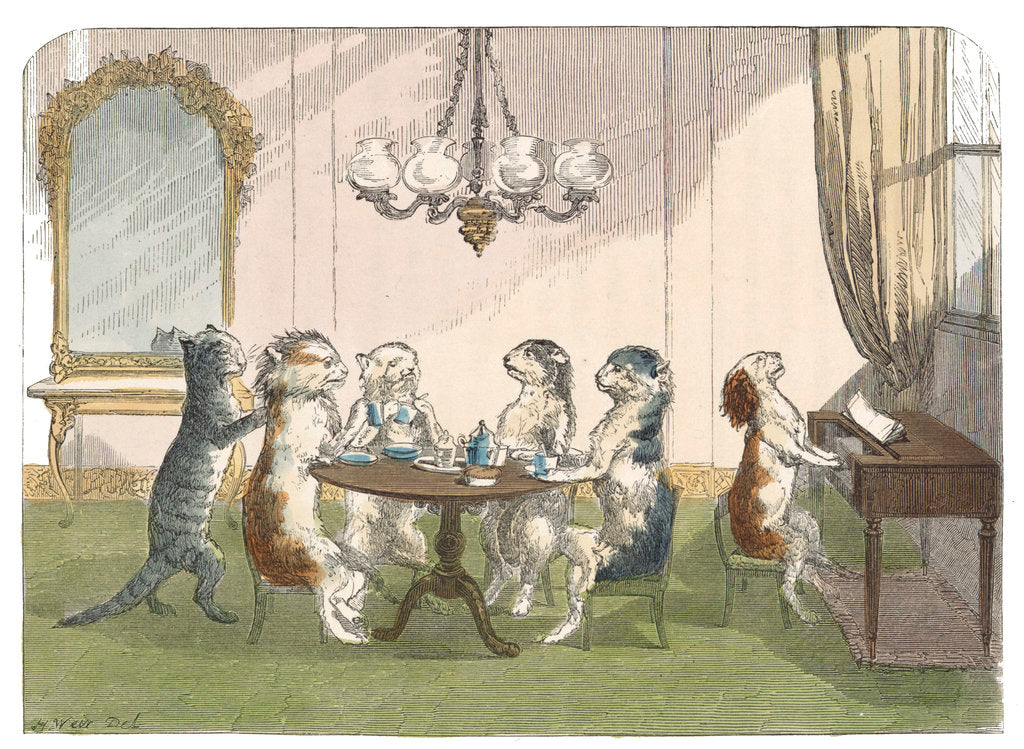 Detail of The kittens at tea by H Weir