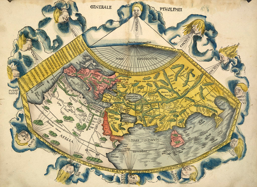 Detail of Ptolemic World Map by Claudius Ptolemy