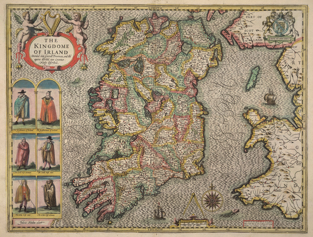Detail of Map of Ireland by John Speed