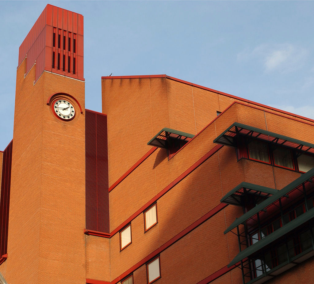 Detail of British Library clock tower by The British Library