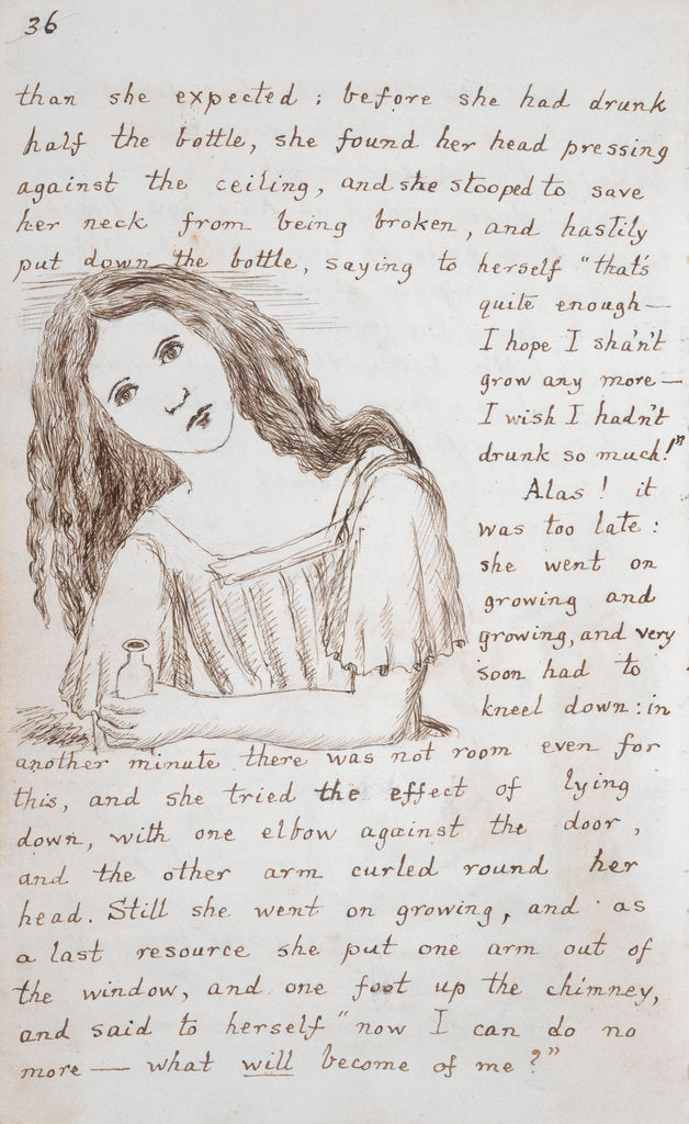 Detail of Alice puts down the bottle by Lewis Carroll