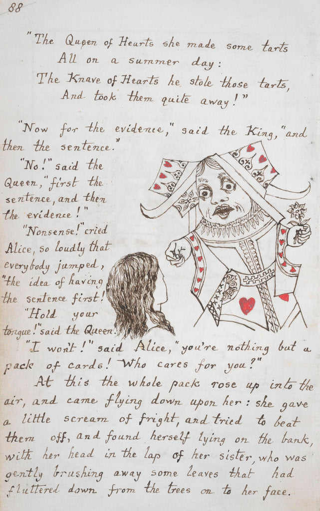 Detail of Alice and the Queen of Hearts by Lewis Carroll