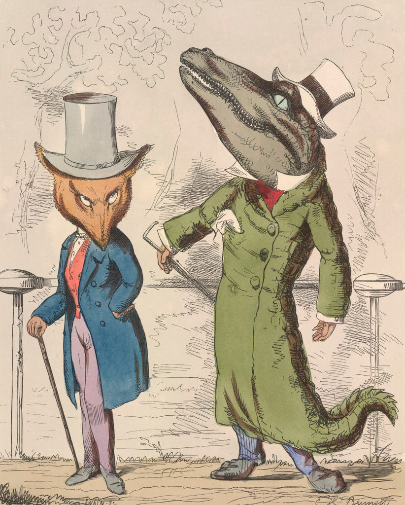 Detail of The fox and the crocodile by C H Bennet