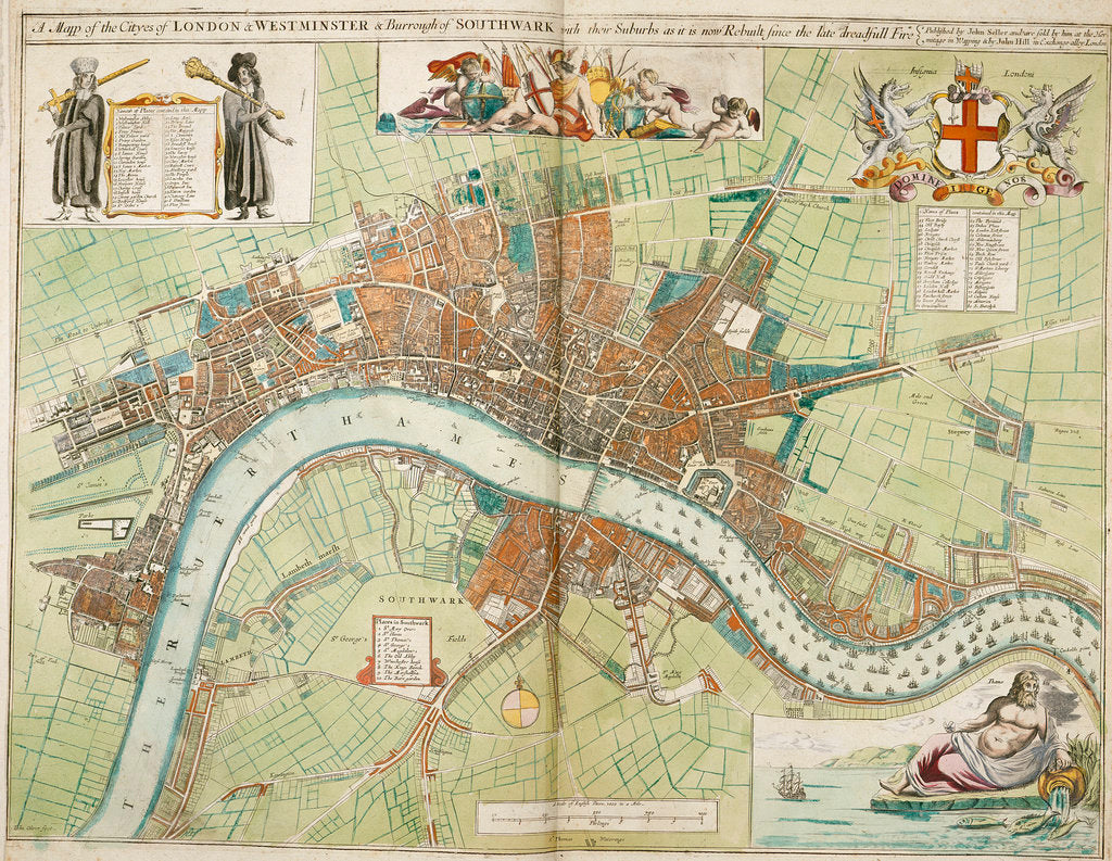 Detail of London and Westminster rebuilt after the Great Fire of London map by Anonymous