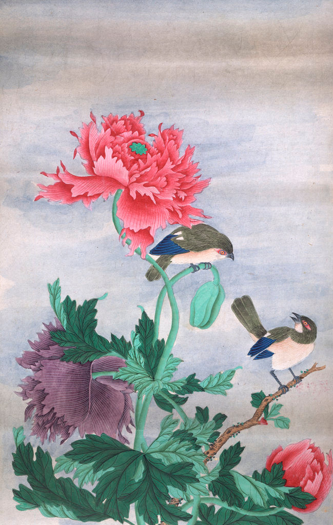 Detail of Two birds with flowers by Shiv Dayal