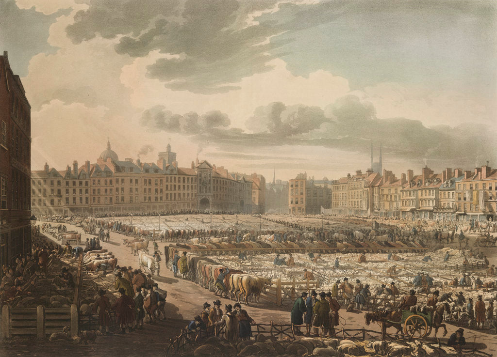 Detail of Smithfield market by Pugin Rowlandson