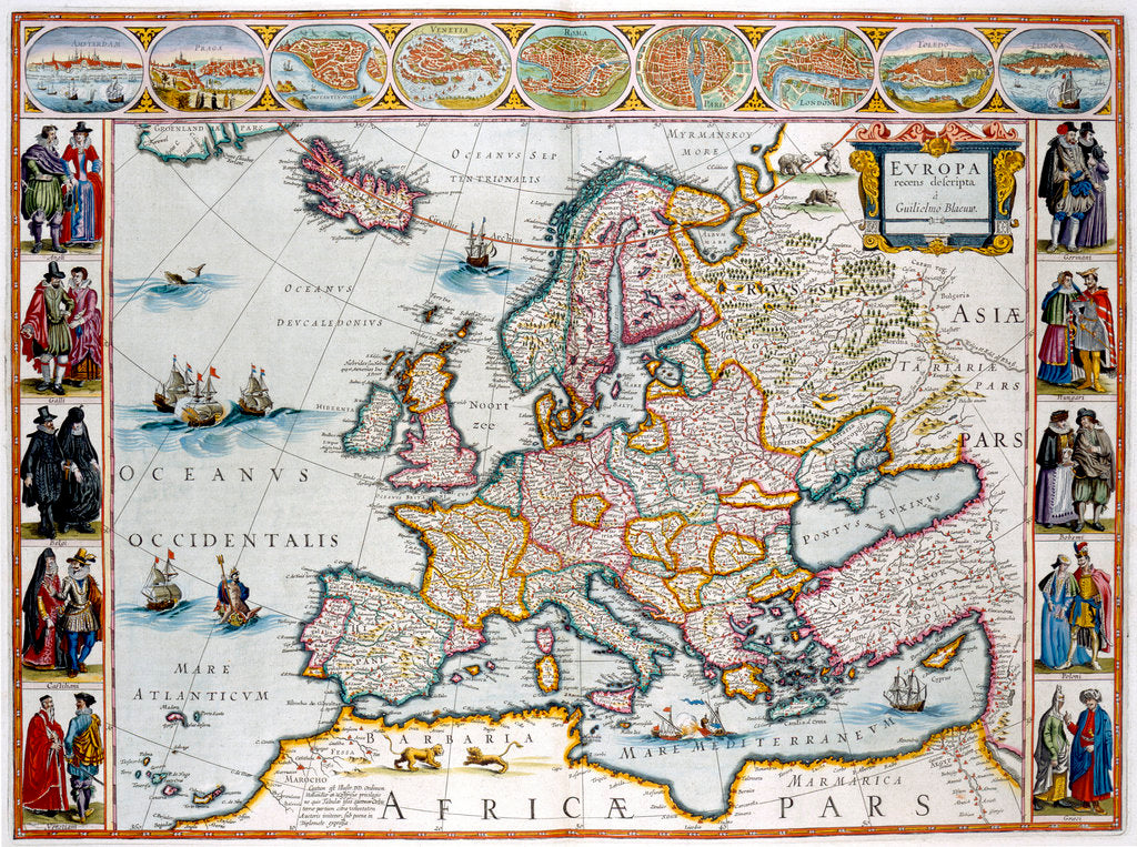 Detail of A map of Europe by J Blaeu