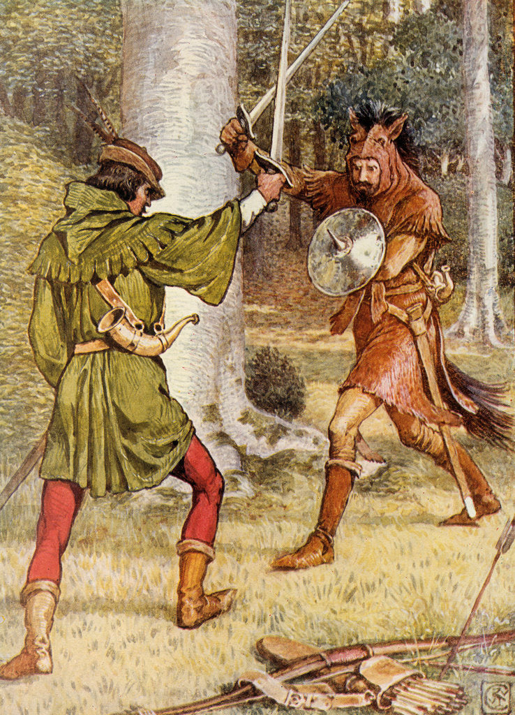 Detail of Robin Hood and Guy of Gisborne fighting by Walter Crane