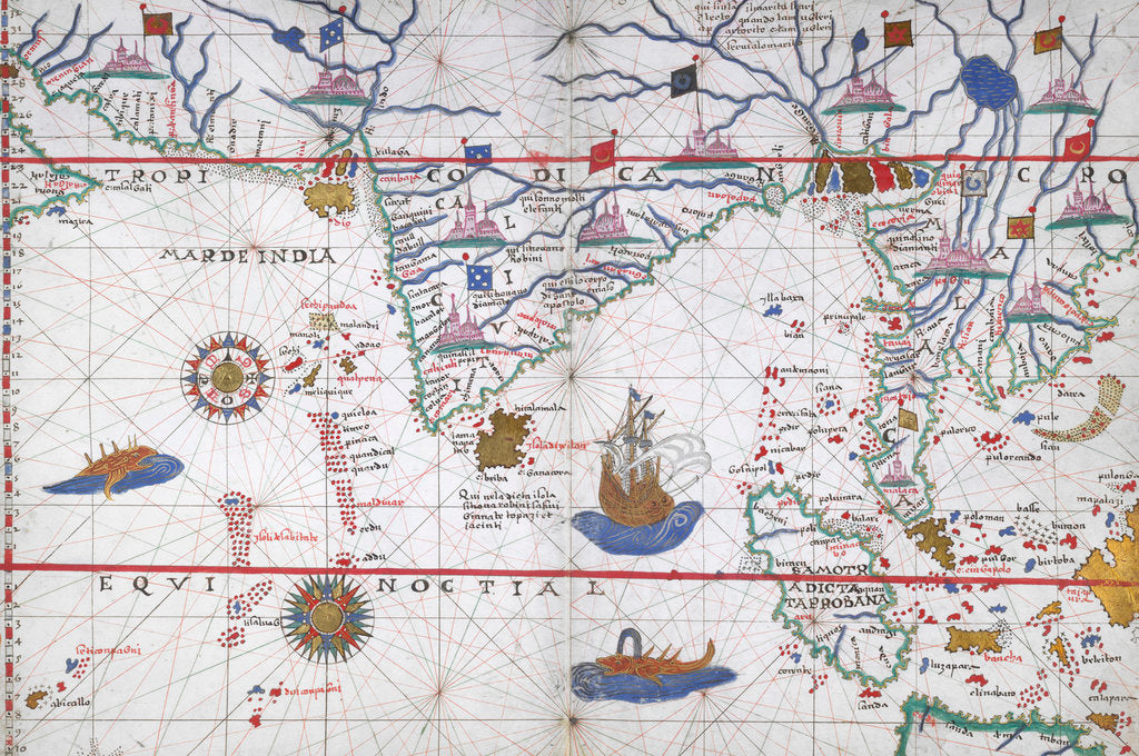 Detail of Chart of the Indian Ocean by Joan Martines