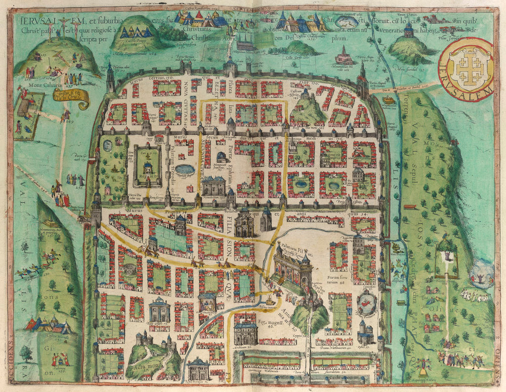 Detail of Map of Jerusalem by Georg Braun