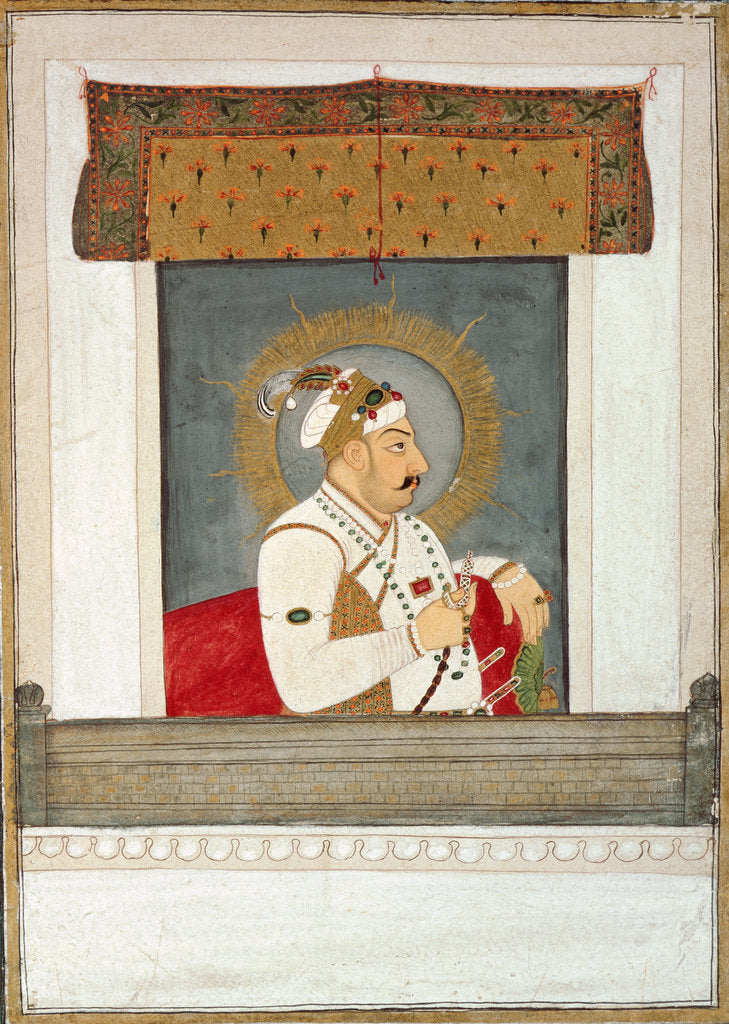 Detail of Muhammad Shah at the jharoka, c.1735-40 by Govardhan II
