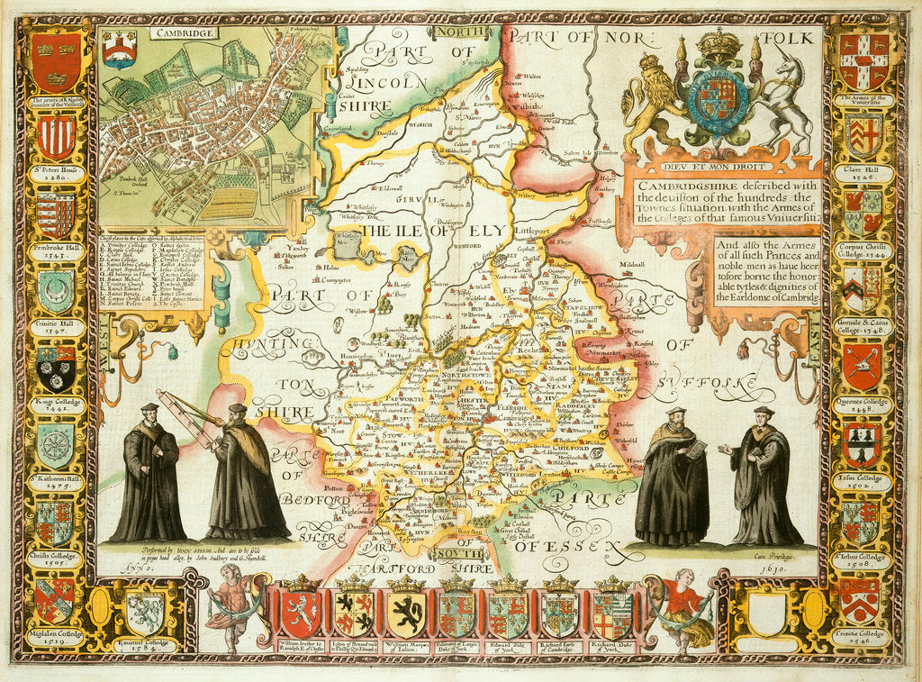 Detail of Map of Cambridgeshire by J Speed