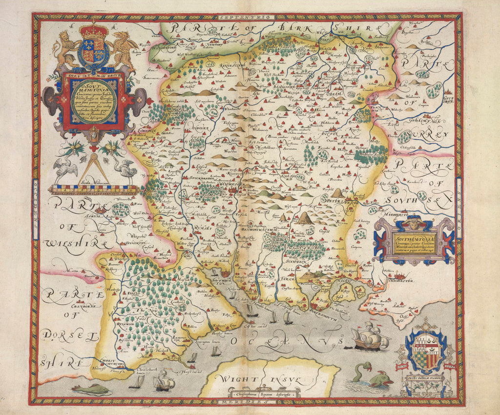 Detail of Map of Hampshire by Christopher Saxton