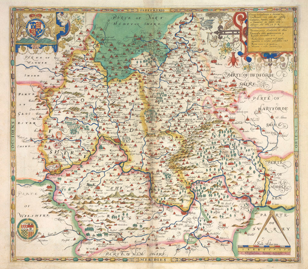 Detail of Map of Oxfordshire, Berkshire and Buckinghamshire by Christopher Saxton