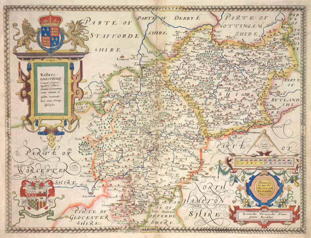 Detail of Map of Warwickshire and Leicestershire by Christopher Saxton