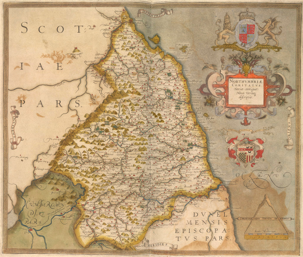 Detail of Map of Northumbria by Christopher Saxton