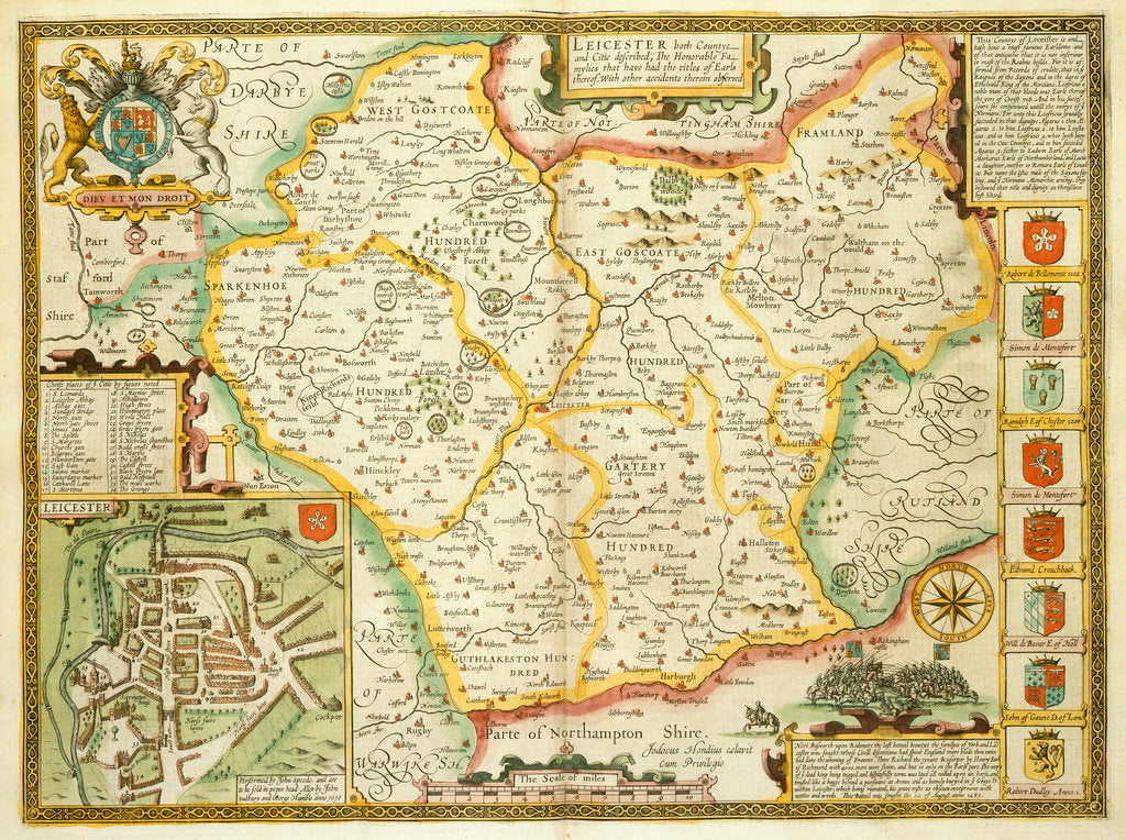 Detail of Map of Leicestershire by John Speed