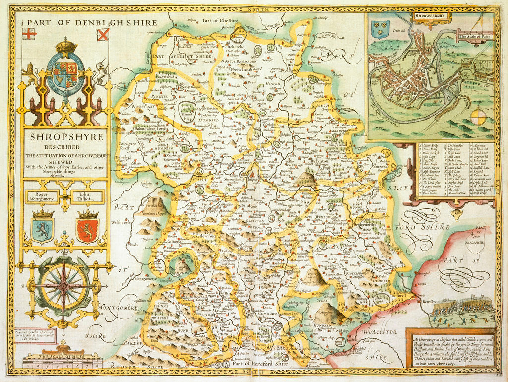 Detail of Map of Shropshire by John Speed