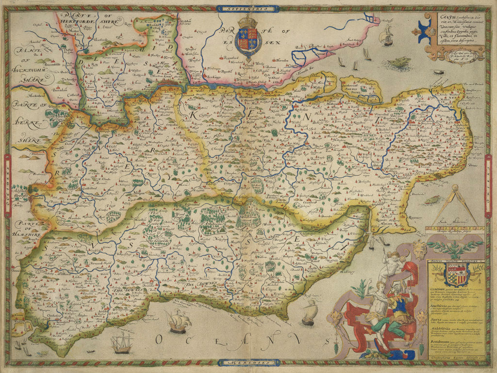 Detail of Map of Sussex, Kent, Surrey and Middlesex by Christopher Saxton