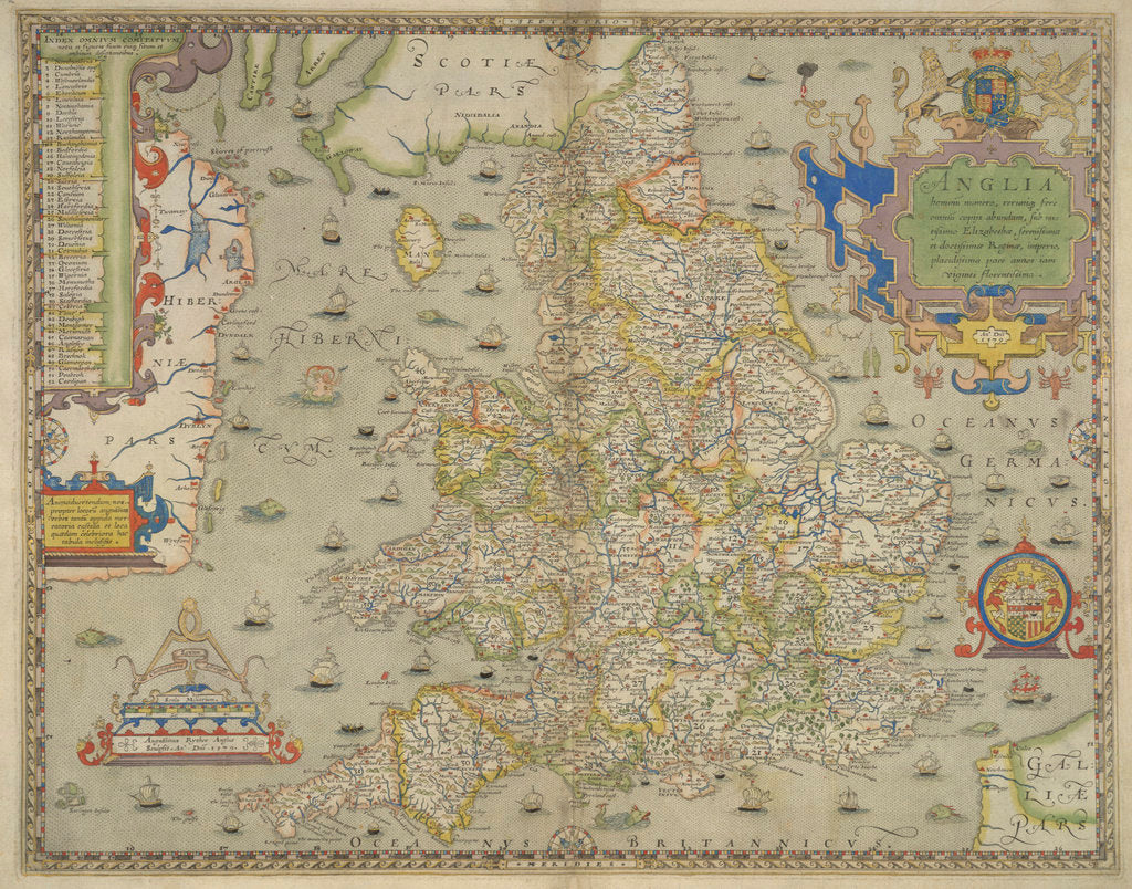 Detail of Map of England and Wales by Christopher Saxton