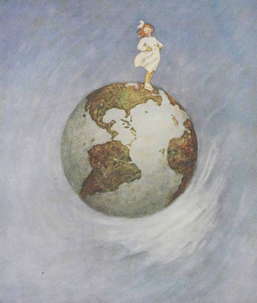 Detail of Young girl standing on the Earth by Jessie Willcox Smith