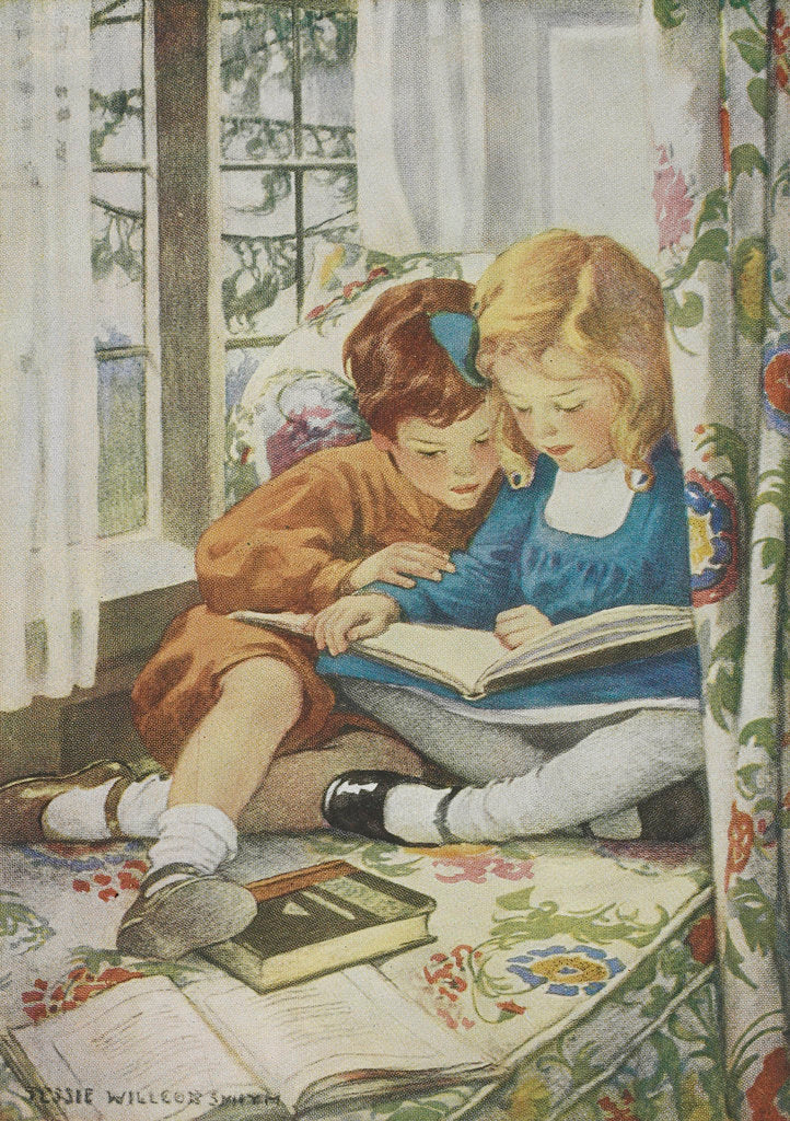 Detail of Children reading by Jessie Willcox Smith