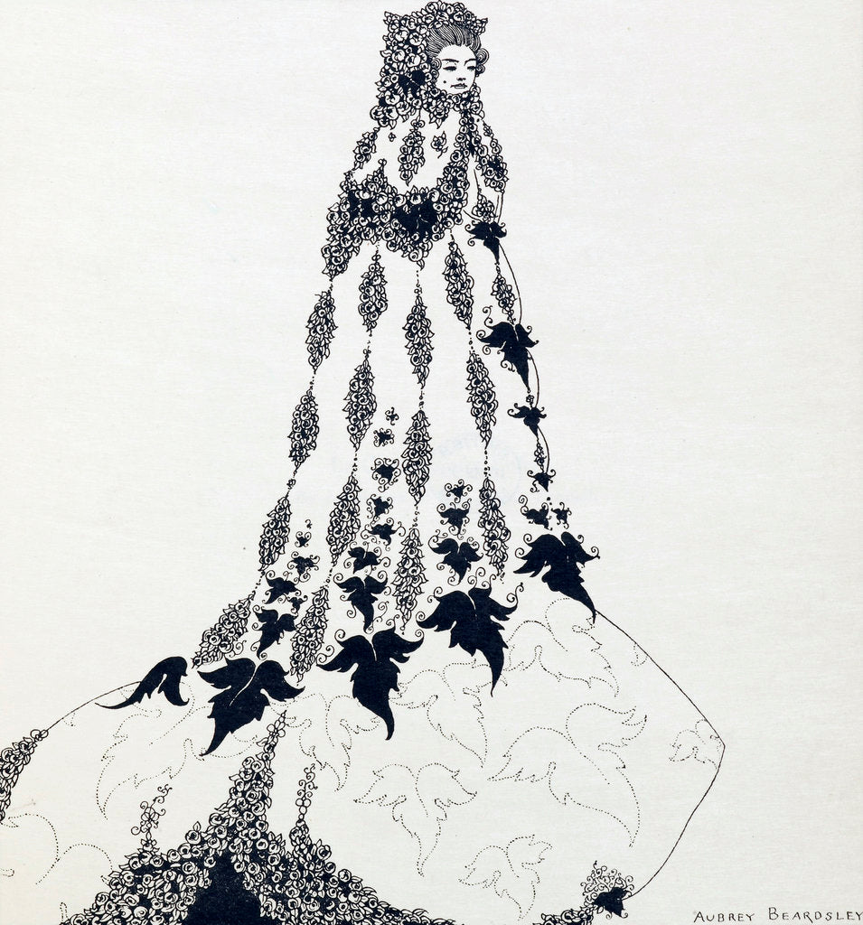 Detail of Ballet costume, unfinished drawing by Aubrey Beardsley