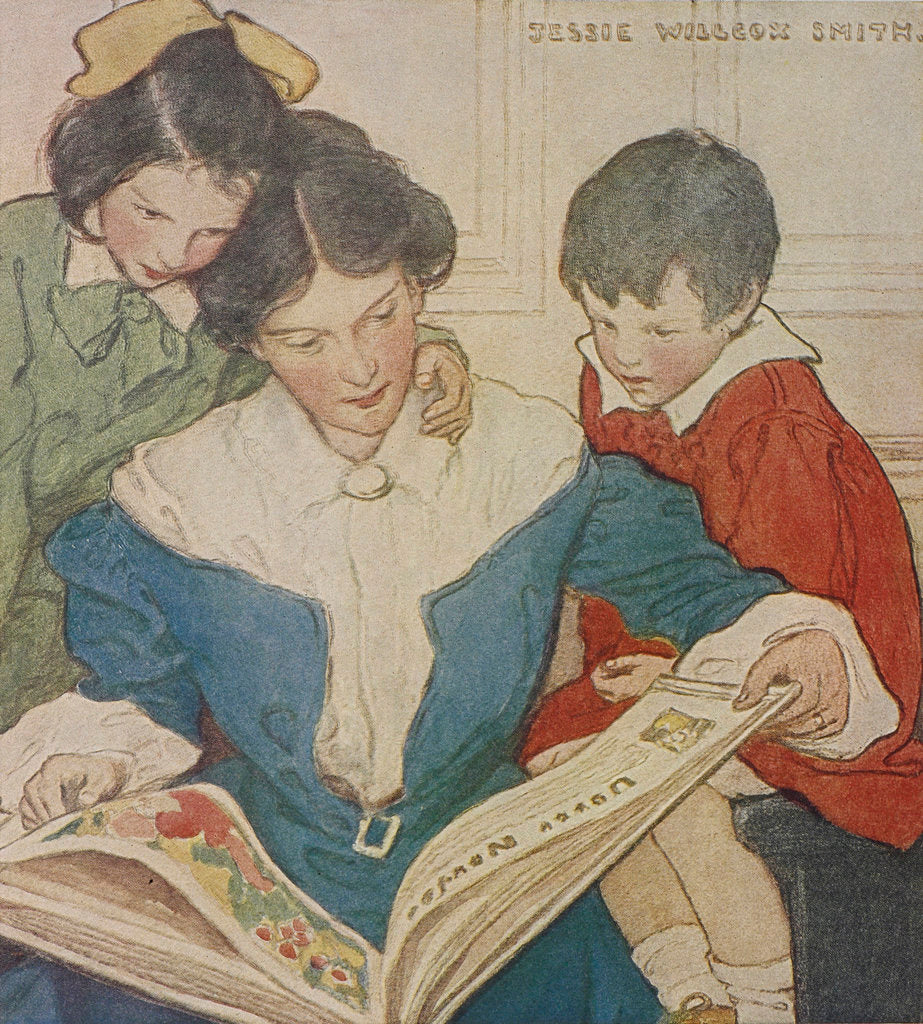 Detail of A mother and her children reading a book by Jessie Willcox Smith