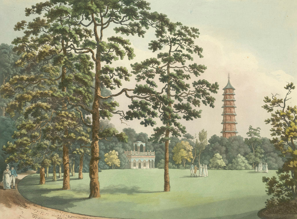 Detail of A view of Kew Gardens by F. L. Mannskirsch
