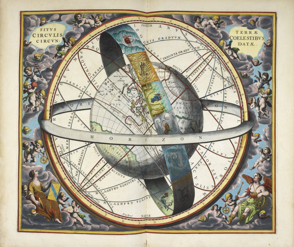 Detail of Planisphere with astrological signs of the zodiac, Atlas Coelestis by Andreas Cellarius