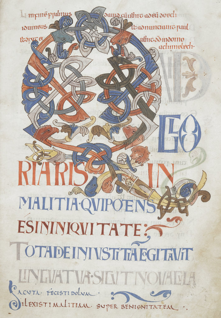 Detail of Beginning of Psalm 51 in the Bosworth Psalter by Anonymous