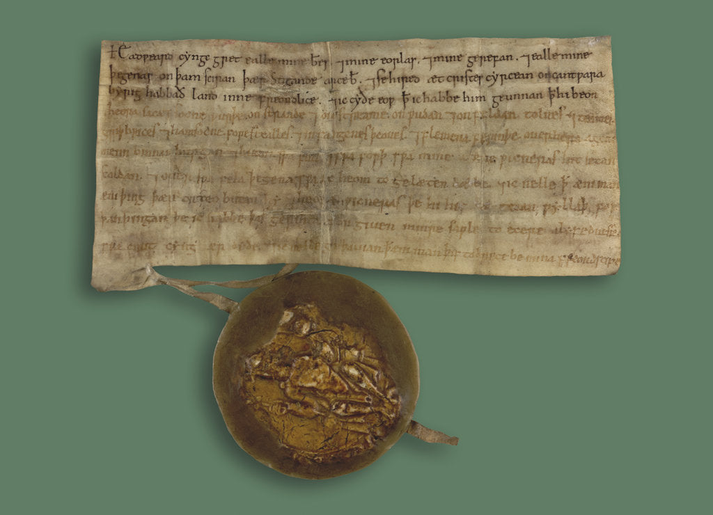 Detail of Writ of Edward the Confessor with his seal by Anonymous
