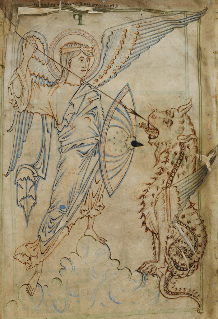 Detail of St Michael and the dragons, from the Tiberius Psalter by Anonymous