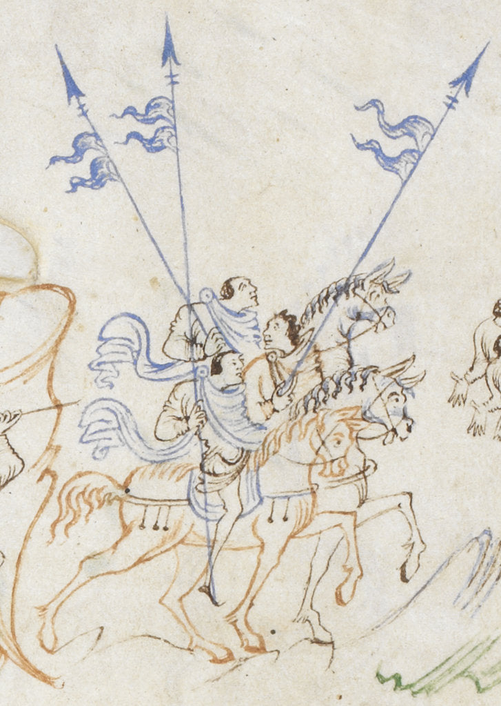 Detail of Detail of men on horseback, from the Harley Psalter by Anonymous