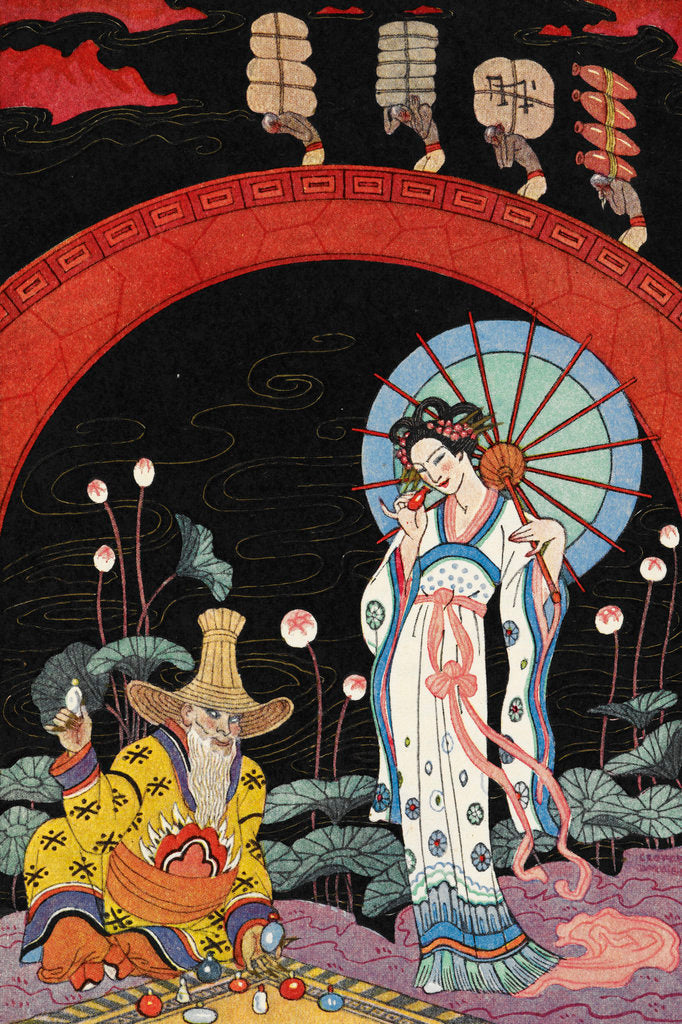 Detail of A woman and a maker of perfume. by George Barbier