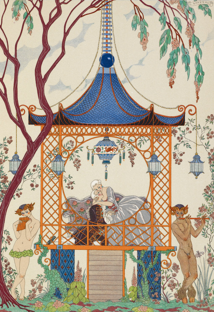 Detail of Romance in the gazebo by George Barbier