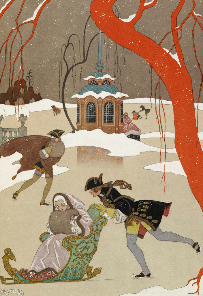 Detail of Skating - en patinant by George Barbier