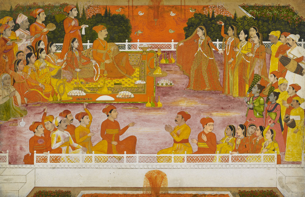 Detail of A young nobleman enjoying Holi with his consort by Nidhamal