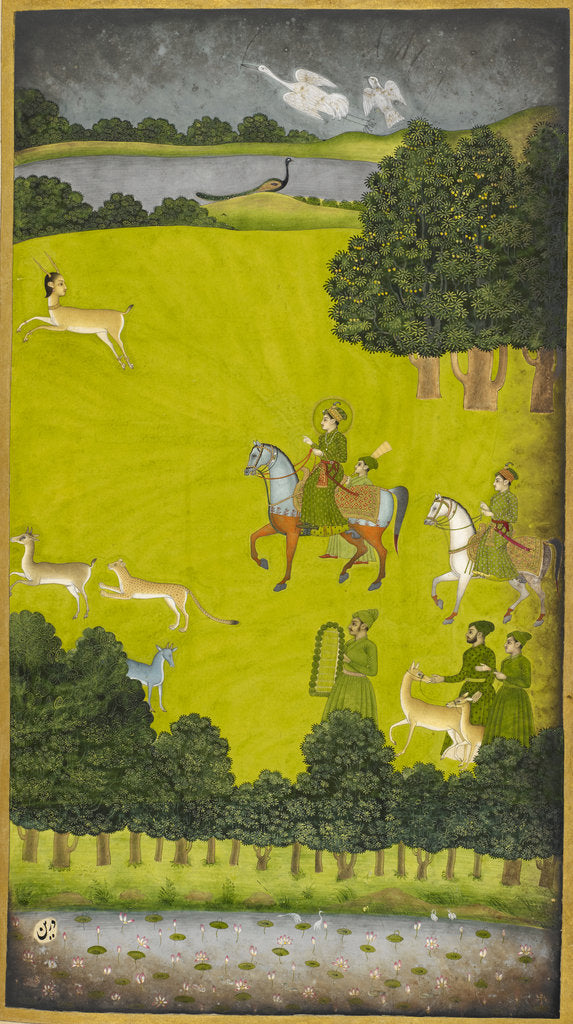Detail of Prince Gauhar on a hunting expedition by Anonymous