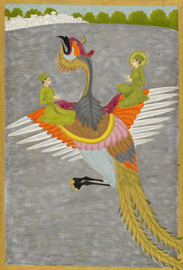 Detail of Prince Gauhar and his companion rescued by the simurgh by Govardhan II
