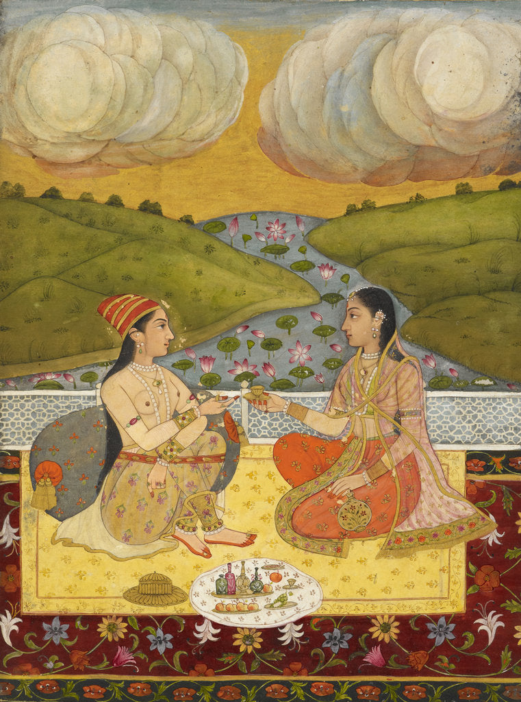 Detail of Two ladies on a terrace by Rai Anup Chattar