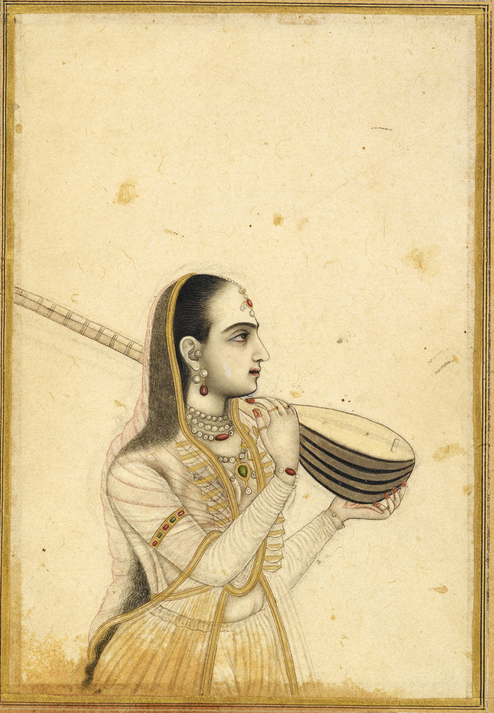 Detail of Lady with a tambura by Kalyan Das (Chitarman)