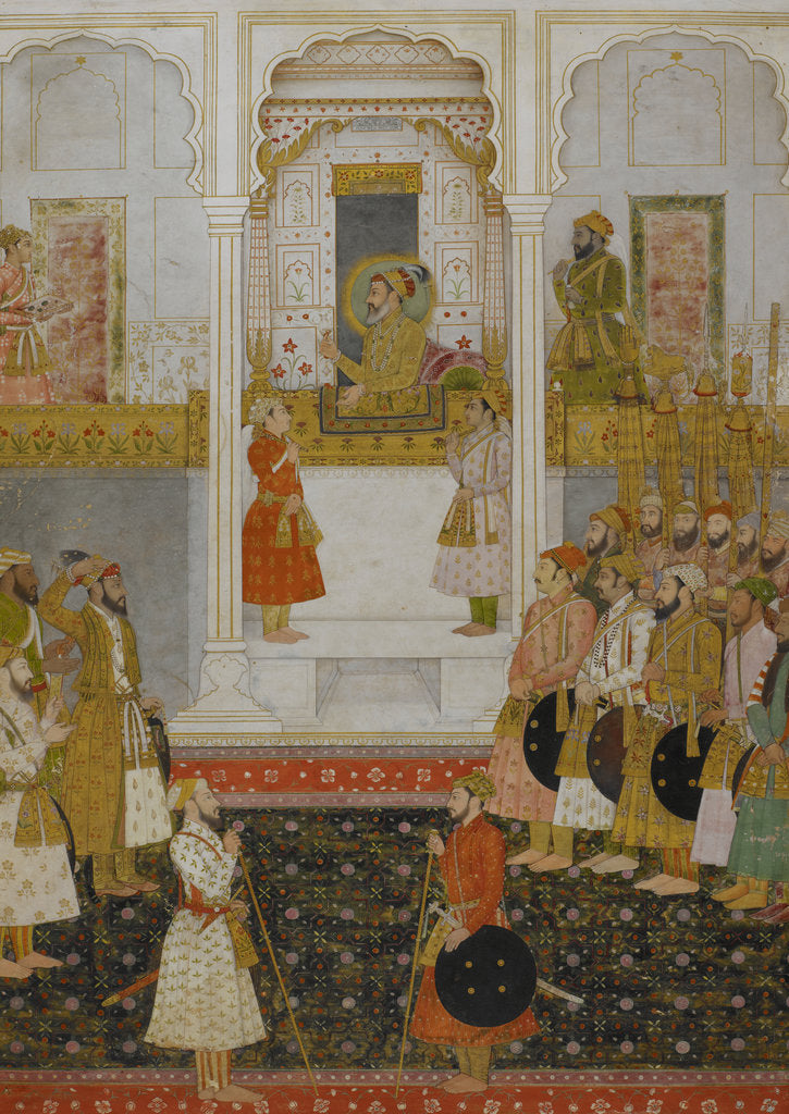 Detail of Prince Aurangzeb reports to Shah Jahan in durbar at Lahore in 1649. by Anonymous