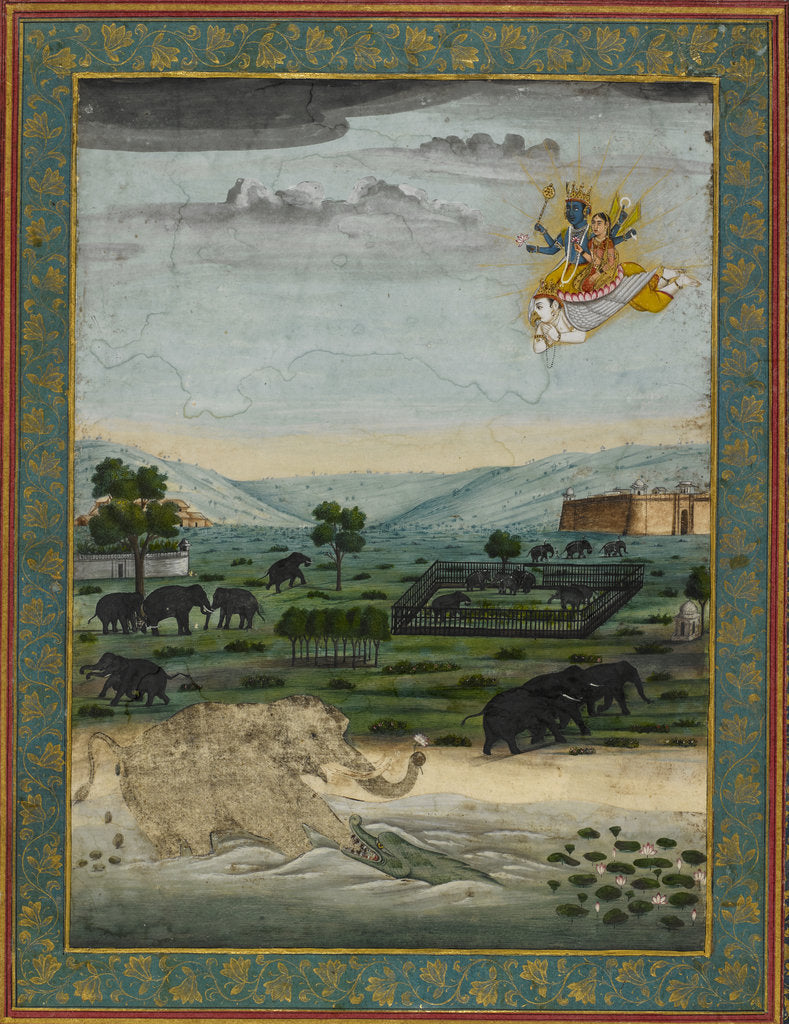 Detail of Vishnu flying on Garuda to rescue the elephant king by Dip Chand