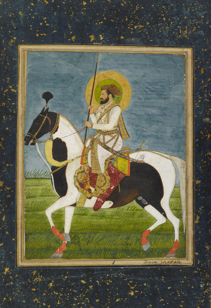 Detail of Shah Jahan riding a piebald stallion by Anonymous